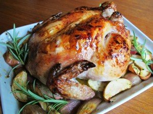Baked chicken with honey and apples